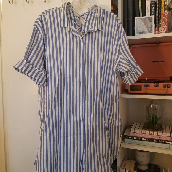 75ab00045db Zara Tops | Button Up Striped Shirt With Back Detail | Poshmark